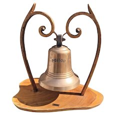 "Vintage French Passenger/Cargo Ship  ""Poitou"" Bronze Bell w/ Clapper Salvaged from a Shipwr"
