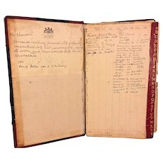 Vintage Court Ledger 1931-1933 Justice of the Peace W C Henderson Crum Lynne PA