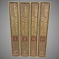 4 Volume Set of Great Drawings of All Time 1st Edition 1962 Ira Moskowitz  Each Volume in Own Sleeve Shorewood Publishers New York