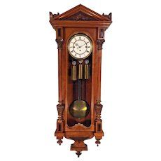 Antique Gebruder Resch Vienna Regulator Wall Clock 1878 Repeater 3 Weight Driven Not Running