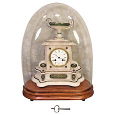 Antique French Onyx Mantel Clock Bell Chime Running Brass & Green Colored Trim Clock w/ Urn All Under a Glass Dome w/ Wood Base Old Key