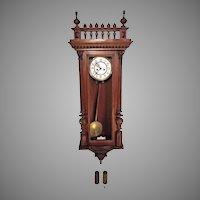 Antique 1885 Gustav Becker Vienna Regulator Wall Clock Time & Strike Engraved Bob and Weight Shells Walnut Case Running Serial 373099 Brass Movement
