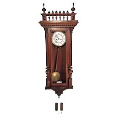 Antique 1885 Gustav Becker Vienna Regulator Wall Clock Time & Strike Engraved Bob and Weight Shells Walnut Case Running Serial 373099 Brass Movement