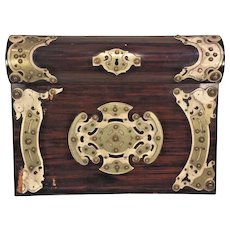 Antique English Lap Top Desk Applied Metal Decoration Top Opens to 4 Compartments Inkwell Comes with Key for Lock Working!   Green Felt Cover Writing Area