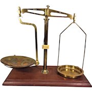 Antique Brass Balance Scale Mounted on Wood Base Saddles are with the Scale! 1 Lb