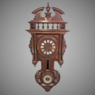 Antique Black Forest Wall Clock w/ Barometer Rod Strike Beautiful Carved and Pressed Wood Case Not Running Missing Pendulum