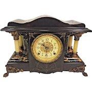 Antique Seth Thomas Mantel Clock Fancy Column Design Painted Wood Case Running