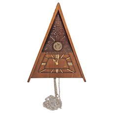 Vintage Maak Cuckoo Clock w/ Triangular Wood Case Not Running No Pendulum or Weights Russia