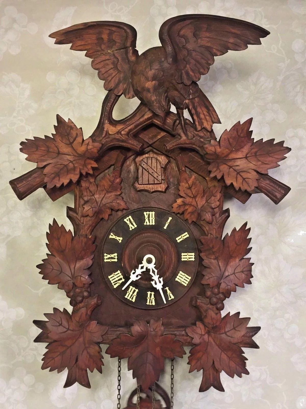 Vintage Large Cuckoo Clock W Eagle Topper Runs Amp Strikes