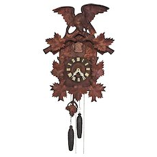 Vintage Large Cuckoo Clock w/ Eagle Topper Runs & Strikes Weight and Appropriate Pendulum with Clock Great Wood Carving to Case  American Cuckoo Clock Company Made in Germany
