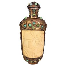 Vintage Asian Snuff Bottle w/ Topper Ornate Bone Copper Detailing with Blue Stone Trim