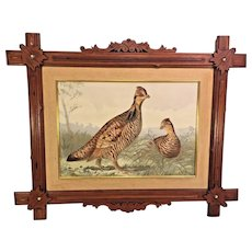 Antique Alexander Pope Jr Chromolithograph of Pinnated Grouse Early 1900s  Beautifully Framed and Matted