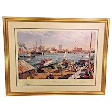 Jacksonville Artist Proof Print Remarqued by Paul McGehee Professionally Framed and Matted Conservation Glass  Shows the USS Constitution on a Tour after Being Refurbish in the Early 1930s