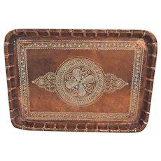 Vintage Copper Platter Incised Design with Wall Hanger
