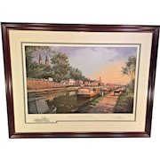 "Paul McGehee ""Old C&O Canal at Georgetown"" Limited Edition Print with Remarque Professionally Framed and Matted Conservation Glass   Shows Barges and Traffic Along the Old C&O Canal by Georgetown in Washington DC"