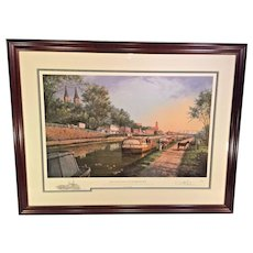 """Paul McGehee """"Old C&O Canal at Georgetown"""" Limited Edition Print with Remarque Professionally Framed and Matted Conservation Glass   Shows Barges and Traffic Along the Old C&O Canal by Georgetown in Washington DC"""