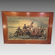 Antique Print of Washington Crossing Delaware Battle of Trenton 1776 Framed from Estate of Descendant of General William Seward Item Description