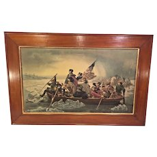 Antique Print of Washington Crossing Delaware Battle of Trenton 1776 Framed from Estate of Descendant of General William Seward Item Description