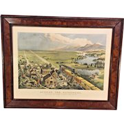 "Antique Large Folio Currier & Ives Lithograph Restrike  ""Across the Continent, Westward the Course of Empire Takes Place""  1868 Drawn by F F Palmer  Del J J Ives   From the Estate of Descendant of General William Seward   Antique Frame"