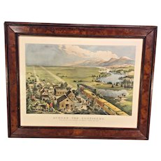 """Antique Large Folio Currier & Ives Lithograph Restrike  """"Across the Continent, Westward the Course of Empire Takes Place""""  1868 Drawn by F F Palmer  Del J J Ives   From the Estate of Descendant of General William Seward   Antique Frame"""