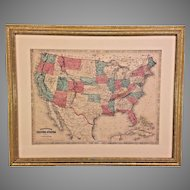 Alvin Jewett Johnson Map of the United States 1864 Framed and Matted  from Estate of Descendant of General William Seward Jr.