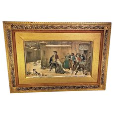 Antique Artwork Print of Colonial Man Defending People Inside Fort from Attackers Coming Over Wall Great Colors and Detail  Exquisite Frame From Estate of Descendant of General Seward