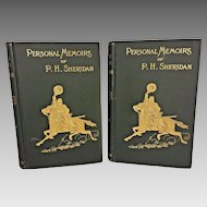 Personal Memoirs of Phil Sheridan  2 Vols 1888 1st Ed by P H Sheridan, Charles Webster & Co New York  From Estate of Descendant of General William Seward Antique Civil War Books