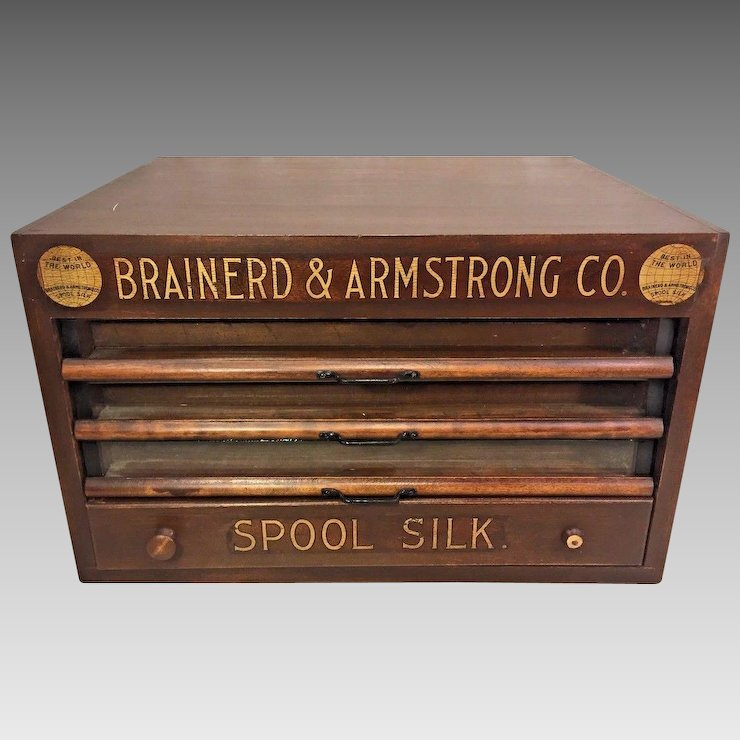 Antique Brainerd & Armstrong Wood Spool Cabinet 4 Drawers Glass Brass &  Wood Great Gold Colored - Antique Brainerd & Armstrong Wood Spool Cabinet 4 Drawers Glass