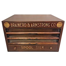 Antique Brainerd & Armstrong Wood Spool Cabinet 4 Drawers Glass Brass & Wood Great Gold Colored Stenciling