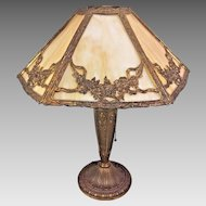 Antique Edwardian Style Slag Glass Lamp Works! Bronzed Brass Base w/ Embossed Detailing  From the Estate of a Descendant of General William Seward Jr
