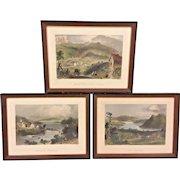 3 Antique Engravings by William Bartlett in Frames Sugar Loaf Georgeville and Lake Memprhemagog in Maine  Set #1 of 2  From Estate of Descendant of General William Seward