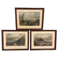 3 Antique Engravings by William Bartlett in Frames Sugar Loaf Georgeville and Lake Memprhemagog in Maine Set # 2 of 2 From Estate of Descendant of General William Seward