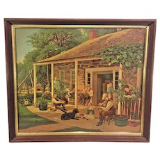 Antique Chromolithograph Home Sweet Home G F Gilman People on Front Porch of Cabin 1 Party Playing Fiddle Washington Homestead? Done by G F Gilman of NY Old Wood & Plaster Frame From Estate of Descendant of General William Seward