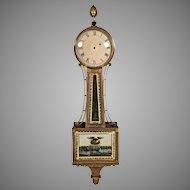 Antique American Banjo Clock 1800s Cherry Case  Possible Aaron Willard Broken Tablet on Pendulum Door Running from the Estate of the Descendant of General William Seward Jr.