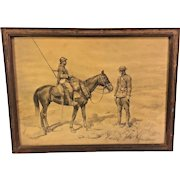Antique World War I Lithograph  by Jean Jacques Berne-Bellacour in Frame  Brothers in Arms - A French Cavalry Soldier Meeting an American Infantry Soldier on the Field #2 of 2