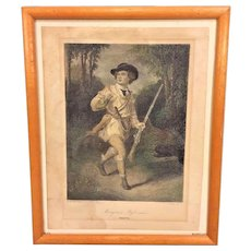 Antique Engraving Morgan's Rifleman South Hand Colored After Painting by A Chappel From Estate of Descendant of General William Seward