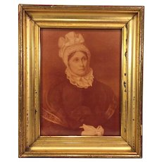 Antique Elizabeth Roe Lockwood Picture Wife of Lambert Lockwood a Revolutinary War Officer from CT From Estate of Descendant of General William Seward