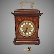 Vintage Imperial Mantel Clock w/ Inlaid Wood Case Bell Strike Marquetry Look Case  FHS Movement # 130-070 1984