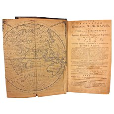Antique Book The American Universal Geography Book w/ Maps 1793  by Jedidiah Morse Part 1 of 2 Only Printed in Boston