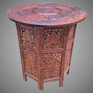 Vintage Asian Carved Table Removable Top Nice Pressed or Carved Details of Leaves