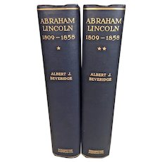 Abraham Lincoln 2 Volumes by Albert Beveridge 1928 1st Edition Blue Cloth Hardcovers Houghton Mifflin Company