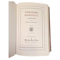 """Easton Press Book """"Theodore Roosevelt A Biography"""" by Henry Pringle1988 Leather Bound 22k Gold Gilt Page Edges The Library of the Presidents Series"""