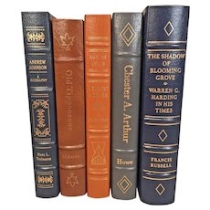 Easton Press Books 5 Volumes of Library of the Presidents Series Leather Bound Leather Bound Gold Gilt Page Edges Library of the Presidents Series (1964-1997)