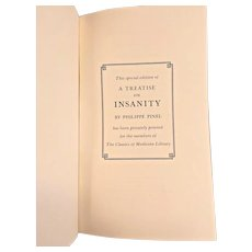 """A Treatise on Insanity"" by Philippe Pinel 1983 The Classics of Medicine Library Leather Bound 22k Gold Gilt Page Edges"