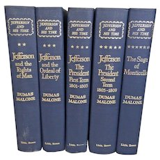 Jefferson and His Time by Dumas Malone 5 Volume Set 1974 1st Edition Seventh Printing Little Brown & Co Boston