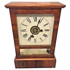 Antique E N Welch Shelf Clock Time and Alarm Clock Running Not Striking Pine and Rosewood Case Wind Holes not Lined Up and 1 Wind for both Strike and Alarm