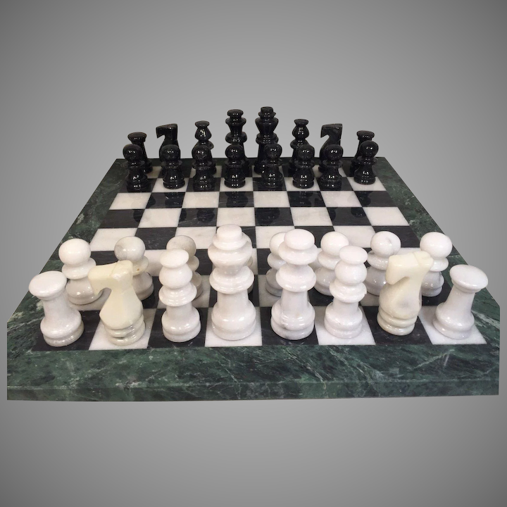 Vintage Marble Chess Playing Pieces W Marble Playing Board