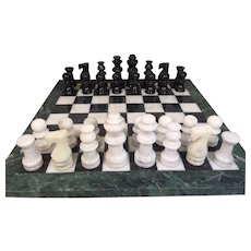 Vintage Marble Chess Playing Pieces w/ Marble Playing Board