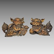 Pair of Purple Bronze and Gold Gilt Foo Dogs Lions One w/ Baby Foo Other w/ a Ball For Good Luck Fortune & Security