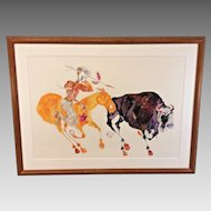 Salvador Dali Marked Etching  of an Indian Hunting Buffalo  Original Rendering or Sketch Never Issued  Pencil Markings Around and Within the Paint/Ink